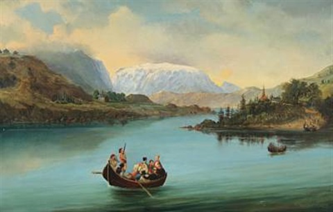 norwegian mountainscape with wedding party crossing the river by carl anton saabye