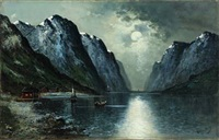moonlight scenery from lofoten in norway by olav brysterp