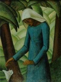 tropische palmenlandschaft mit nonne by leo steck