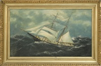 a brig with shortened sails in heavy seas by william pierce stubbs