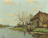 landscape with a farm by a river by hans am ende