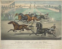 scoring - coming up for the word. little fred, needle gun, jessie wales, belle of brooklyn, old put, and lady whitman in their splendid trot on the prospect park fair grounds (brooklyn, long island) by john james cameron