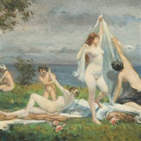 bathing girls on a beach by edmund kregczy