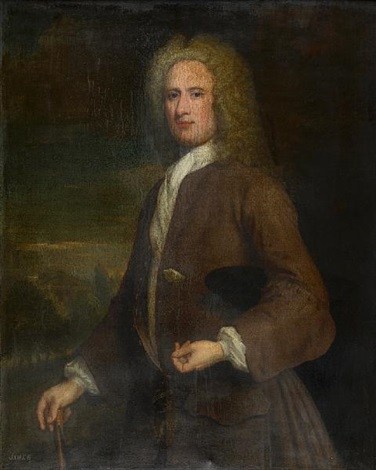 three quarter length portrait of a gentleman john campbell 1st cashier of the royal bank of scotland by william aikman