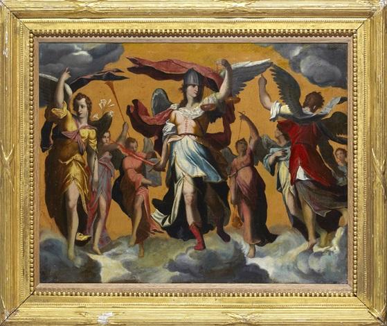 de tre ärkeänglarna mikael gabriel och rafael by rosso fiorentino giovanni battista di jacopo