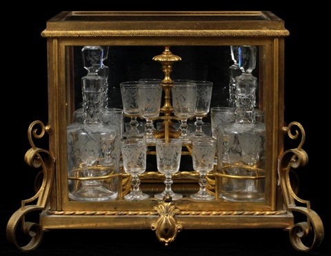 french louis xv style dore bronze crystal tantalus 19th c h 12 w 16