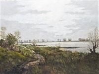 niederrheinische landschaft by georg friedrich anschütz