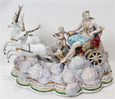 """meissen porcelain figural group, h 12"""", w 17"""", diana seated in her chariot"""