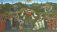 panels from the ghent alterpiece, including the adoration of the mystic lamb (10 works in 1 mount, by c. schultz) by jan van eyck