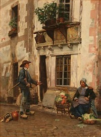 street scenery with a greengrocer and a lumberjack by jan bedijs tom