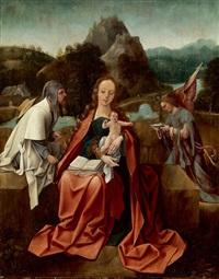 madonna mit kind in einer landschaft sitzend, flankiert von engel und pilger by jan de beer