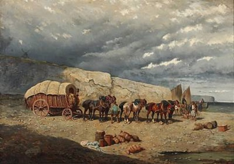coastal view with a horse drawn carriage on the beach brittany by alexander ritter von bensa