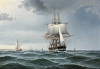 seascape with the frigate