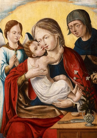 the holy family with an angel by dutch school southern 16