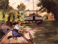 a young boy fishing by joseph de camp