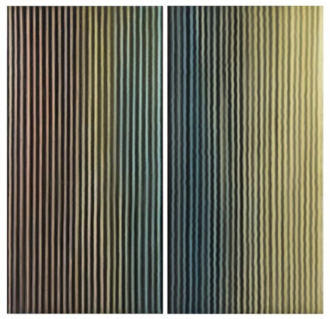 1 the lake and 2 the river diptych by ross bleckner