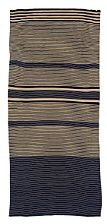 hand woven bedspread in blue and beige striped cotton by lis ahlmann