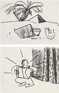 konvolut von zwei zeichnungen by matthias weischer