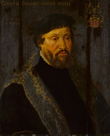 porträt des cornelis stalpart van der wyele mit seinem wappen by anonymous dutch 16