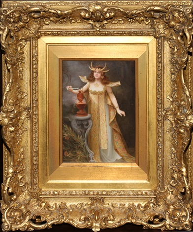 """kpm painted porcelain plaque, signed, 7 1/2"""" x 5 1/4"""", allegory of asia"""