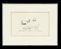 four sheep grazing by henry moore