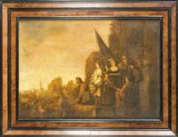der triumph des david, auf einem mauervorsprung präsentiert david der menge das haupt des goliath by adriaen gael the younger