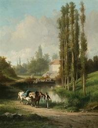 haleur et chevaux le long d'un canal by léonard saurfelt