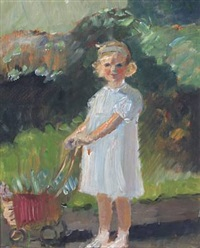 garden with eina de fine licht in a blue dress by her doll's pram by helga ancher