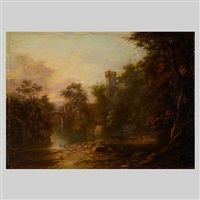 scottish landscape with castle by alexander nasmyth