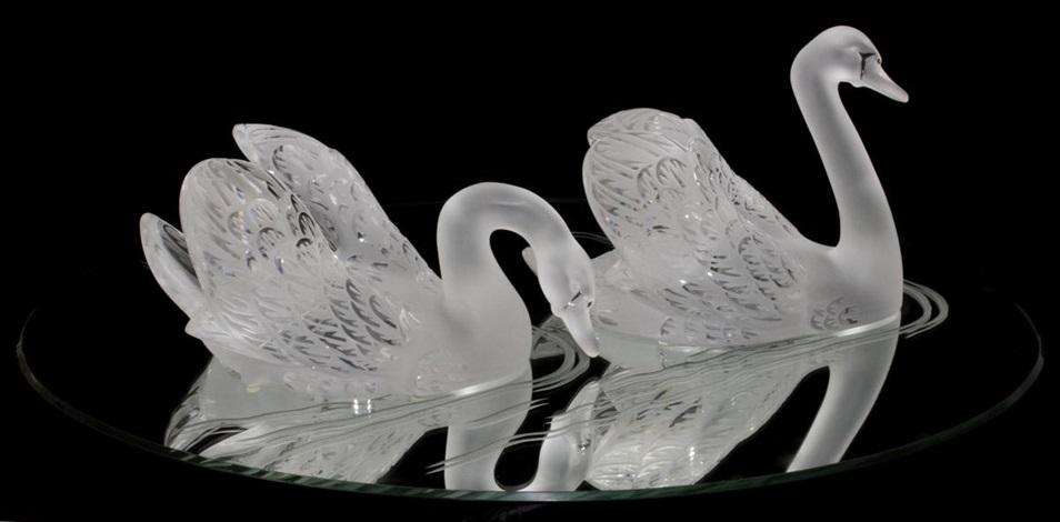 lalique crystal miroir cygnes pair l 12 14