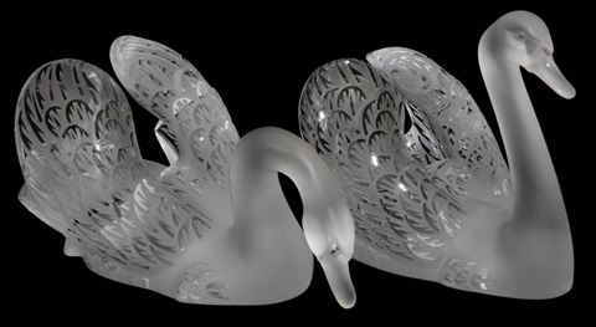 "lalique crystal 'miroir cygnes', pair, l 12"" & 14"""