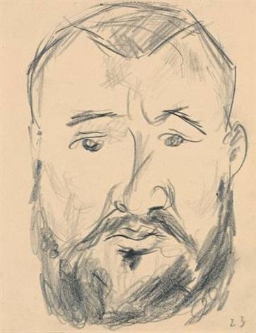 kopf eines mannes en face from sketchbk by max beckmann