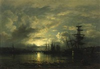 in the port of teignmouth, moonlight scene from devon by wilhelm ferdinand xylander