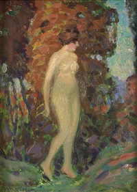 standing nude (possibly the artist's wife) by whitney myron hubbard