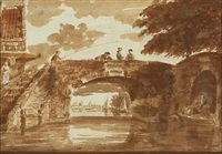 view of a channel with fishing children on a brigde by hendricus spilman