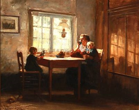 interior with a mother and her two children by jacobus frederik sterre de jong