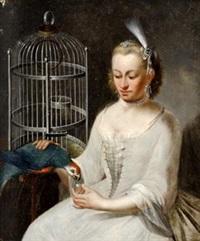 elegante dame mit papagei und vogelkäfig by johann heinrich tischbein the younger