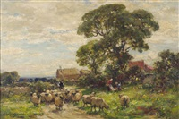 the picnic, a country lane with a shepherd and a sheep by owen bowen