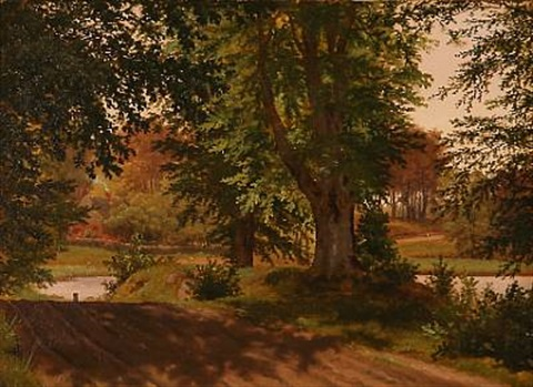 fra hellebæk forest road from hellebæk by peter johann p raadsig