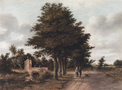 figures on a country road near loosduinen by johannes philippus galjaard