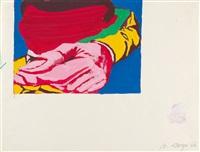 3 bll.: ohne titel (+ katalog michael langer, sprechblasen- und zerrbilder, herausgegeben von der galerie helmut klewan, münchen 1990.<>) by michael langer