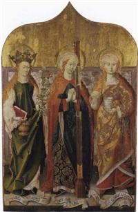 die hl. dorothea, afra und maria magdalena by leonhard beck