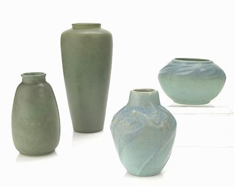 vessels and a teco vase 3 works various sizes by artus anne van briggle