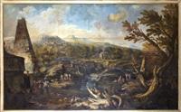 landskap med figurer vid grav by marco and sebastiano ricci