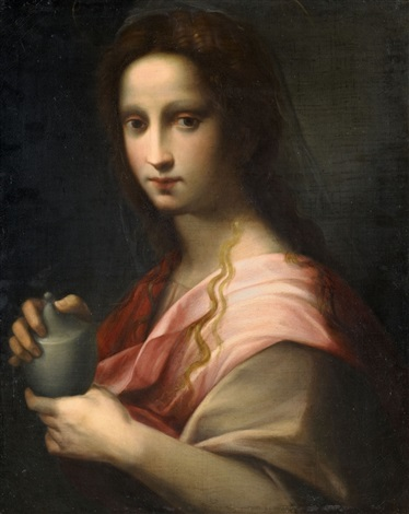 saint mary magdalene holding an ointment vessel by domenico puligo