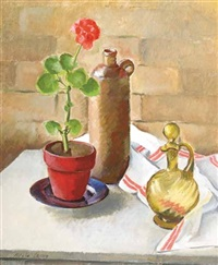 still life with geranium by adele lemm