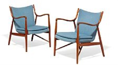 finn juhl fj 45 a pair of easy chairs upholstered with greyish blue wool made by cabinetmaker niels vodder 2