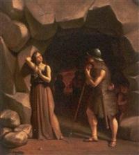 kurtiserende soldat ved klippegrotte by fritz (georg urban f.) jürgensen