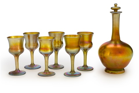 decanter set set of 7 by louis comfort tiffany