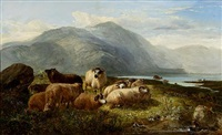 sheep in a highland landscape (collab. w/joseph denovan adam) by joseph adam